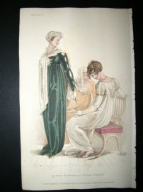 Ackermann 1810 H/Col Regency Fashion Print. Ladies Evening or Opera Dresses 3-25